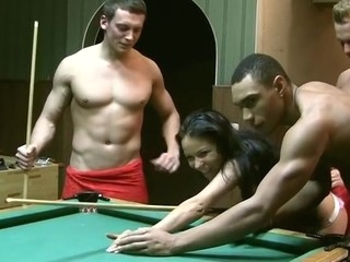 I really like to play billiards in the sauna with my buddies. But it's not that fun if there are no beauties. So we invited our hot ally Emmy to join us. This Babe solely acceded to come when I said her there would be other cuties... Of course it was a lie. We don't need greater quantity than one angel for gang gangbang movies :) In Any Case, to entice our hot brunette hair in bikini into dp porn we used a popular trick. We just played a game of billiards, and this babe lost. If u lose, u pay, that's fair. So poor thing had no thing ...
