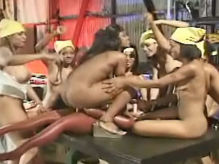 Mad crazy lesbians shoving many objects in their friend holes