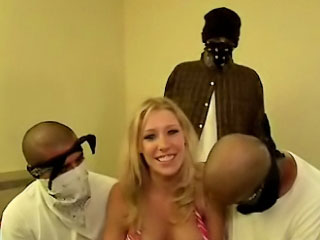 Busty chick with palatable tits sucking and screwing three guys