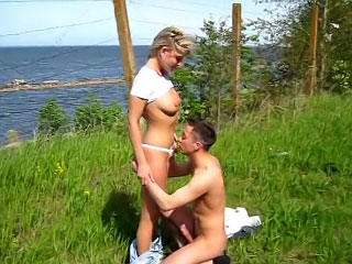 Nice horny babe making admirable blowjob and gaping dude outdoors