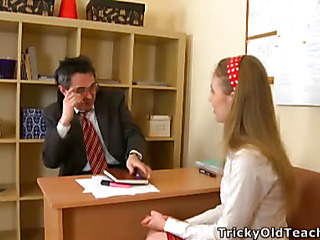 Cute hottie came to the teacher's place and acceded to please him. The old stud pets her pinkish vagina.